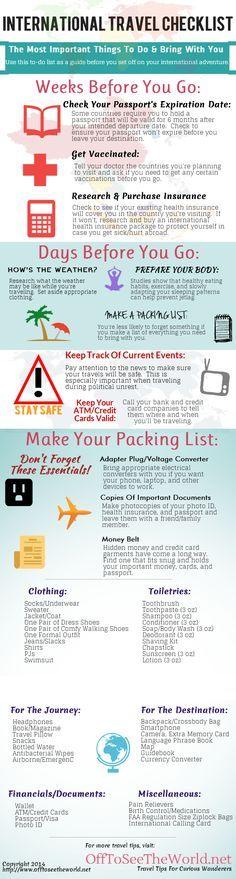 The Ultimate International Travel Checklist travel vacation tips infographic infographics vacations good to know abroad international travel checklists