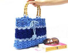 On Sale Crochet bag Shoulder bag Blue Bag Striped bag by aynikki, $48.00
