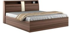 Buy Savana Queen Bed in Moldau Akazia and Brown Finish by Spacewood Online - Queen Size Beds - Beds - Furniture - Pepperfry Product Simple Bed Designs, Bed Designs With Storage, Best Bed Designs, Double Bed Designs, Wooden Bed With Storage, Box Bed Design, Bedroom Bed Design, Bedroom Furniture Design, Bed Furniture