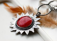 Handcrafted Sun Necklace in Oxidized Silver and by EONDesign, $129.00