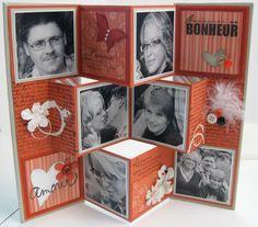 Scrap et Cie Qc: Mini-album accordéon pop'up par Lizou Mini Album Scrapbook, Diy Mini Album, Mini Albums Scrap, Mini Album Tutorial, Fun Fold Cards, Pop Up Cards, Folded Cards, Handmade Books, Mini Books