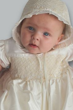 Silk Christening Gown Hand Smocked with Pearl Accents Abigail Baptism – Strasburg Children