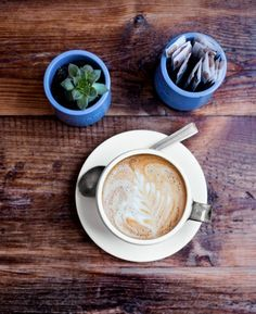 A latte in the Refreshment Room at East London's The Deli Downstairs