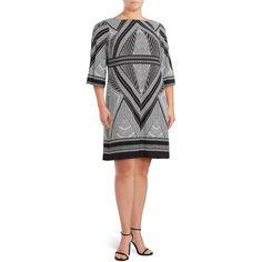 Calvin Klein Printed Boatneck Dress ($55) ❤ liked on Polyvore featuring dresses, black, 3 4 length sleeve dress, calvin klein, three quarter sleeve dress, bateau neckline dress and slash neck dress