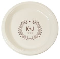 Personalized Laurel Wreath with Heart Plastic Plates  sc 1 st  Pinterest & Outline Shaped Monogrammed Plastic Plates | Weddings: Blue and ...