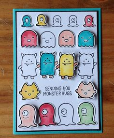 Die schlichte Karte: Monster Mash Monster Cards, Lawn Fawn Stamps, Paper Smooches, Kids Birthday Cards, Monster Mash, Little Monsters, Card Making Inspiration, Kids Cards, Monkeys
