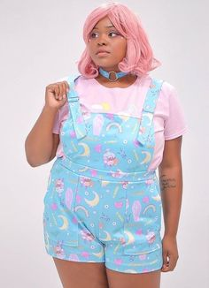 Overalls comes with easy adjustable straps for that perfect fit. Available in a soft pastel blue color pattern. Pastel Goth Outfits, Pastel Outfit, Retro Outfits, Cute Outfits, Harajuku Fashion, Kawaii Fashion, Cute Fashion, Fashion Edgy, Aesthetic Fashion