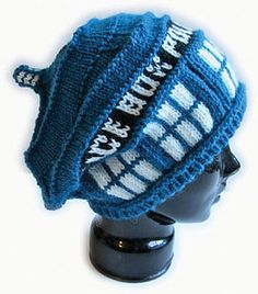 Police box slouchy hat!!I know it's not crochet but it is sooo cool! maybe someone could convert the pattern.