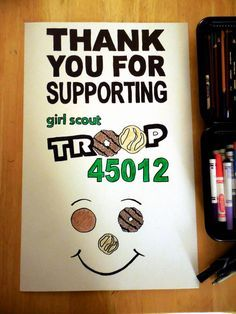 Girl Scout Cookie Booth poster or handout to everyone that buys for each girls sales