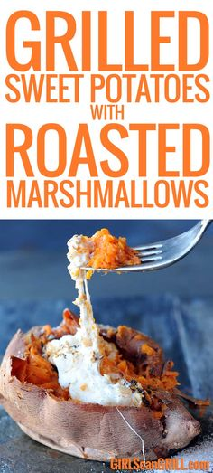 Grilled Sweet Potatoes with Roasted Marshmallows via @girlscangrill