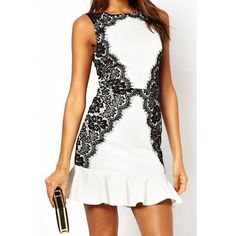 Wholesale Sexy Jewel Neck Sleeveless Lace Embellished Ruffled Dress For Women Only $13.42 Drop Shipping | TrendsGal.com