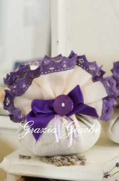Lavender ball with pretty ribbon and fresh lavender