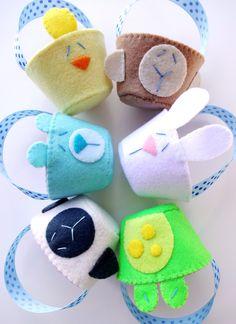 Felt Spring Animal Baskets Sewing Pattern - PDF ePATTERN for Bunny, Chick, Lamb, Frog, Bear, Monkey. $3.99, via Etsy.