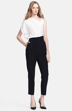 $1,195, White and Black Jumpsuit: Escada Tellena Colorblock Crop Jumpsuit. Sold by Nordstrom. Click for more info: https://lookastic.com/women/shop_items/209698/redirect