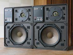 Vintage PHILIPS Motional Feedback HiFi Loudspeakers 22RH541