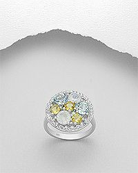 sterling silver ring set with sky-blue topaz, citrine, rainbow moonstone and cubic zirconia