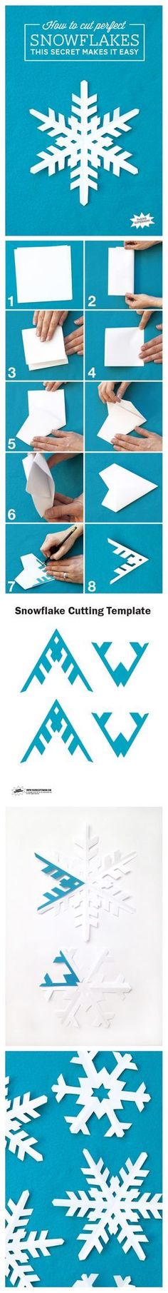 How to CUT A PERFECT & REPEATABLE SNOWFLAKE EVERY TIME. Folding instructions & templates included. Once you know the method and make other snowflakes you would like to be able to recreate you can make a template of your design.
