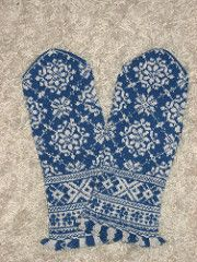 """Latvian mittens were knit originally on needles varying in size from 0-0000 (2-1.25 mm, 13-16 English). The yarn was usually a fine 2-ply homespun similar to an 8/2 weaving yarn or as fine as a """"fingering yarn"""". The pattern asks that you find your own gauge with your own needles and yarn and then adjust the graph based on a sizing chart at the back of the book."""