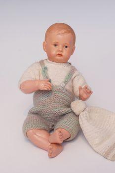 Cell.-Baby mit festem Kopf, Bruno Schmidt, gez. Schutzmarke Herz 21/23 Germany, mod.blonde Frisur, g