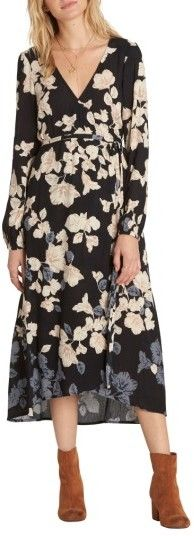 Lightly crinkled plisse fabric patterned with earth-toned florals enhances the boho charm of this wrap-style midi dress. Dresses For Teens, Modest Dresses, Trendy Dresses, Nice Dresses, Casual Dresses, Dresses With Sleeves, Diy Dress, Boho Dress, Simple Fall Outfits