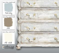 Vintage Dressing When I'm in a quandary about color, I have a few Annie Sloan Chalk Paint® combinations that never fail, never disappoint. It's my favorite neutral, a greige made of CoCo, Paris Grey . Annie Sloan Painted Furniture, Chalk Paint Furniture, Annie Sloan Chalk Paint, Grey Furniture, Furniture Outlet, Plywood Furniture, Repurposed Furniture, Vintage Furniture, Furniture Design