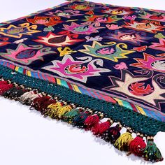 A mid 20th century embroidery panel of the Lakai tribe, chain-stitched using polychrome silks on blue silk velvet background. Uncommon design rich in symbolism: scorpion motifs, spiked star shaped medallions, finished with beautiful border embroidery.