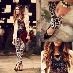 Charry Pants, Kafé Bracelets, Merrin Necklace, Romwe T Shirt, Choies Clutch