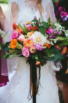 Bright botanical florals. Bridal bouquet. Statice