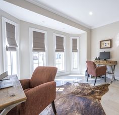 A classic mix of tones and textures in this study room. Control the natural light with block out roman blinds, covering the Horizon Double Hung windows in Pearl White with glazing bars. Study Room Design, Double Hung Windows, Curtain Ideas, Roman Blinds, Pearl White, Natural Light, Minimalism, Curtains, Classic