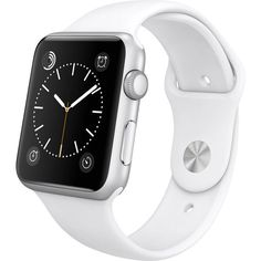 Women's Apple Watch Sport 42mm Smartwatch (1,950 CNY) ❤ liked on Polyvore featuring jewelry, watches, accessories, bracelets, white, jewelry & watches, women's watches, silver jewellery, sport wrist watch and sports wrist watch