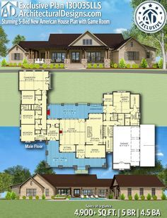 Almost perfect. Rearrange bathrooms, enlarge bedrooms, ditch mud room for stairs… Almost perfect. Rearrange bathrooms, enlarge bedrooms, ditch mud room for stairs and create bonus. Ranch House Plans, Dream House Plans, House Floor Plans, My Dream Home, Dream Houses, House Design Plans, 5 Bedroom House Plans, Garage Bedroom, Plan Design