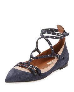 S1UK3 Valentino Love Latch Caged Ballerina Flat