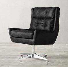 RH's Motorcity Leather Desk Chair:Midcentury America's love affair with the automobile inspired our high-backed chair. Thickly padded, button-tufted cushions cradle with comfort, and an aluminum base lets it roll and swivel 360 degrees. Tufted Dining Chairs, Modern Dining Chairs, Desk Chairs, Bar Chairs, Lounge Chairs, Ikea Chairs, Bar Lounge, Velvet Chairs, Rocking Chairs