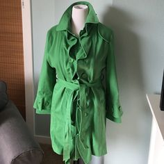Trench coat Cotton trench with ruffle detail fully lined.  Cutting front and belted.  High end. Tracy Porter Jackets & Coats Trench Coats
