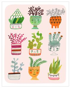 Curious Cacti by Sarah Walsh by PetitReve on Etsy