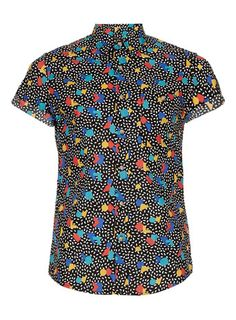 yessssssssssss: BLACK MULTICOLOURED SHAPE PRINT SHORT SLEEVE SHIRT - topman