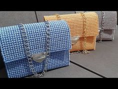 how to make easy bag and nice stitches with plastic canvas شنطة سهل وجميله بالكنفاه البلاستيك - YouTube Plastic Canvas Stitches, Plastic Canvas Crafts, Plastic Canvas Patterns, Crochet Clutch Bags, Crochet Handbags, Loom Crochet, Simple Bags, Easy Bag, Crochet Shoulder Bags