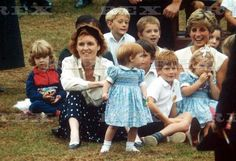 Sarah, Diana and Beatrice at Harry's 7th birthday party, September, 1991
