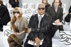 Andre Leon Talley and Anna Wintour at the Chanel show