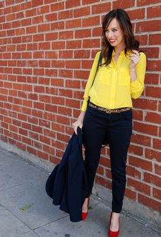 Bright yellow button up blouse, dark denim, and leopard skinny belt - so cute!