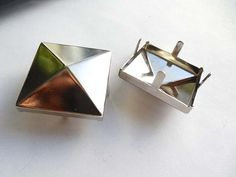 2 Large Silver Pyramid Square Studs  30mm by TreeChild1 on Etsy