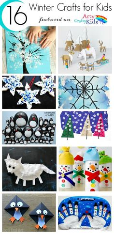 16 Winter Kids Crafts for Kids. Choose from a selection of Winter animals, to snowy Winter trees and gorgeous snowflake art projects for kids to make this season.: