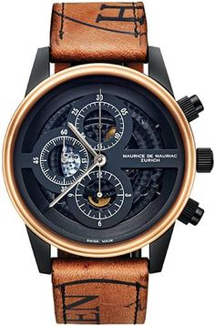 skeleton Chronograph with manufacture movement, 18 k gold bezel on Horween Shell Cordovan leather from Mauriac.