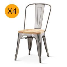 Tolix X4 Replica Xavier Pauchard Chair Ashwood Seat – Black Mango