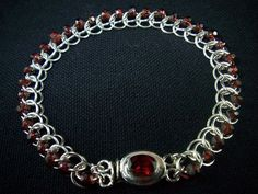 Sterling Silver & Garnet Chainmaille Bracelet 1/2 Persian 3-in-1 by MGGems, $90.00