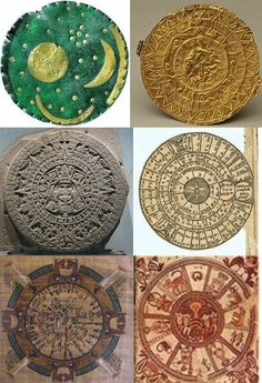 Ancient calendars (top: Nebra skydisk, Moordorf sundisk; middle: Aztec calendar, Babylonian calendar; bottom: Egyptian calendar, Hebrew calendar) - influence of one calendar system on another. Link discusses history & various aspects of calendars from a secular viewpoint. Genesis 7-8 provides a 360-day calendar.
