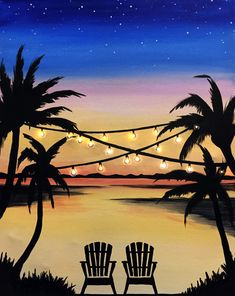Pick A Painting For Your Next Private Paint Party Muse Paintbar # Beach Canvas Paintings, Acrylic Painting Canvas, Small Canvas Art, Mini Canvas Art, Easy Landscape Paintings, Tropical Paintings, Easy Nature Paintings, Cool Paintings, Summer Painting