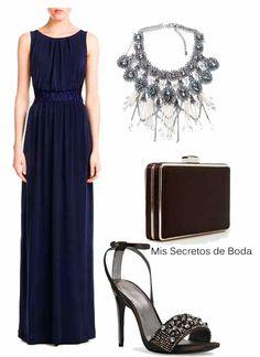Combinacion de accesorios para vestido azul marino