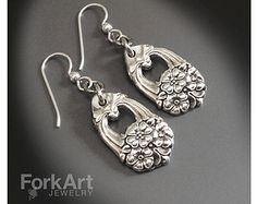 Antique silverware earrings with sterling silver by ForkArtJewelry