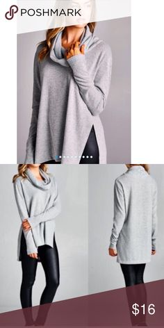 NWOT Grey Cowlneck Side Slit Sweater • Small • Brand new, never worn!! Came without tags. This sweater is so incredibly soft and fuzzy (but does not shed!). Perfect for fall and/or winter. Fairly lightweight (not too heavy, not too light) and has slits in each side. Longer in the back than the front. Size small but fits slightly oversized. Comes from smoke -free home. No odors! ***ONLY FLAW: I cut the brand tag & size tag off since I expected to keep. Item has NEVER been worn.*** It is a…